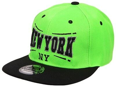 New York City Fashion Baseball Snapback Cap in schwarz/lime