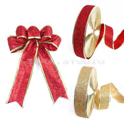 Christmas Wedding Party Wired Edge Glitter Bows Ribbon Decoration 2mx5cm New