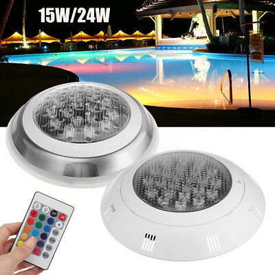 15W/24W 7-Color Swimming Pool RGB LED Light Underwater Lamp + Remote Control