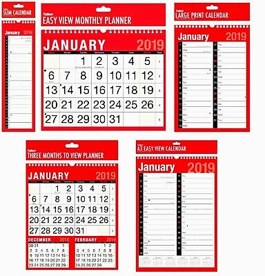 NEW 2019 Wall Planner & Calendar Assorted Size & Format Ideal for Home & Offic