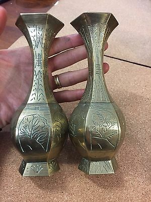 Vintage Pair of Engraved Hexagon Brass Vases Oriental 15.5cm high