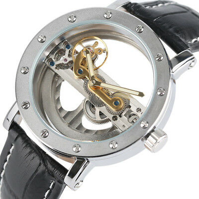 FORSINING Mens Luxury Wrist Watch Automatic Mechanical Military Leather Strap