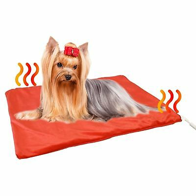 62 x 50cm Pet Pad Bed Electric Heated Cat Dog Puppy Mat Red Fleece Cover