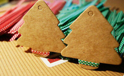 Xmas Tree shaped Kraft Paper Gift Tags Party Favour Brown Christmas Label