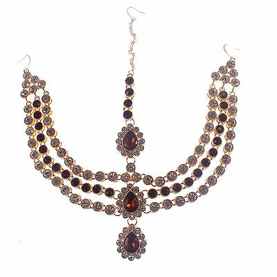 Red Matha Patti Head Chain Diamante  Jewellery Hair Grecian Bohemian Indian
