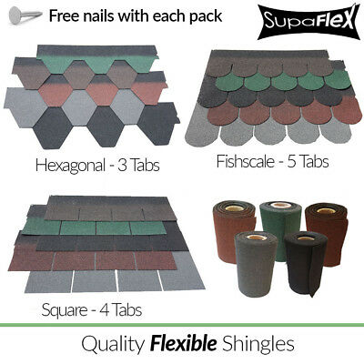 Roofing Felt Shingles | Shed Roof Tiles | Square,Fishscale & Hex |Ridge Roll Kit