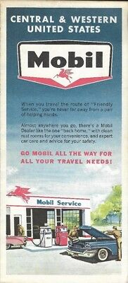 1963 MOBIL OIL Road Map CENTRAL + WESTERN UNITED STATES California Texas Arizona