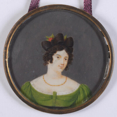 """""""Young woman in green gown"""", French miniature, ca. 1830"""