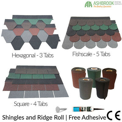 Roofing Felt Shingles | Shed Roof Tiles | Felt Ridge Roll Pack | Free Adhesive
