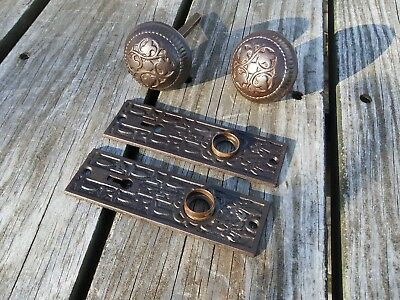 Antique Ornate Bronze Brass Door Knobs Handle Eastlake Old Hardware Vintage
