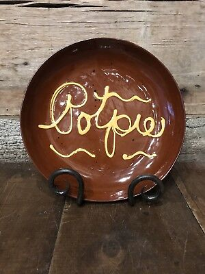 """Signed Breininger 9 3/4"""" Red Ware plate with yellow slip """"Potpie"""" 1983"""