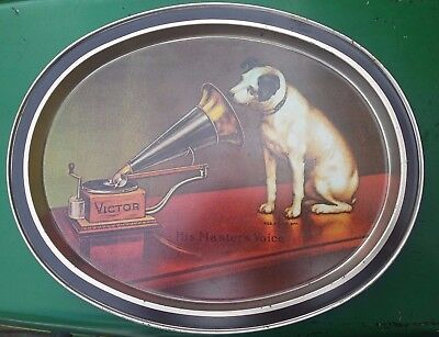 RCA Nipper Dog Victor His Masters Voice Oval Tin Tray