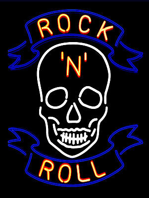 Neon Print Rock N Roll Retro metal Aluminium Vintage Sign Bar Pub Club Man Cave