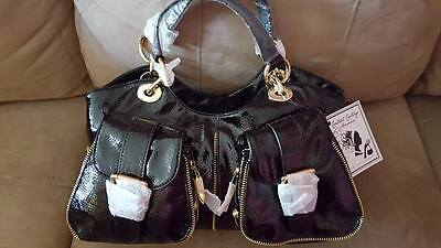Central Casting Accessories Black Patent Zipper Satchel Hollywood Ca Nwts