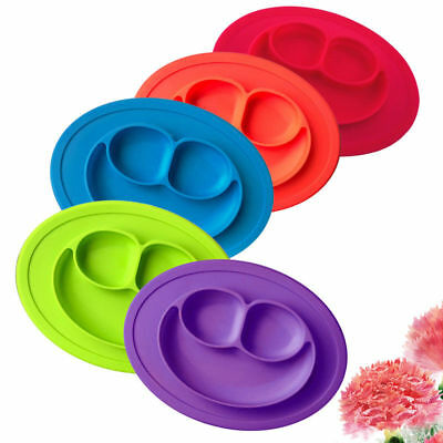Baby Plate One-piece Silicone Plate Tray Dishes Food Holder Portable Platters