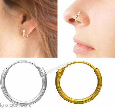 For Him Her Gold Silver Ring Hoop Tragus Nose Earring Septum Helix Rings