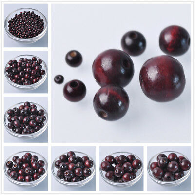 6mm~20mm Dark Red Round Natural Wood Loose Spacer Wooden Craft Beads