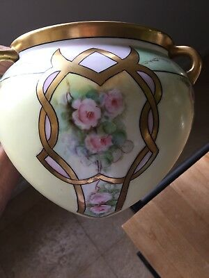 Dorns Antique Vintage Roses Hanging Jardiniere, Planter, Vase Gold Trim