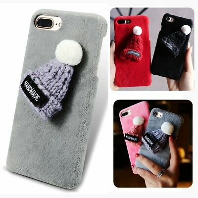 Christmas Cartoon Hat Soft Fur PC Phone Case For iPhone X Xs Xr Max  6s 7 8 Plus