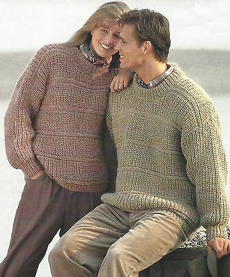 Easy Knit Sweater Knitting Pattern In 4ply Dk Aran Chunky 34 46
