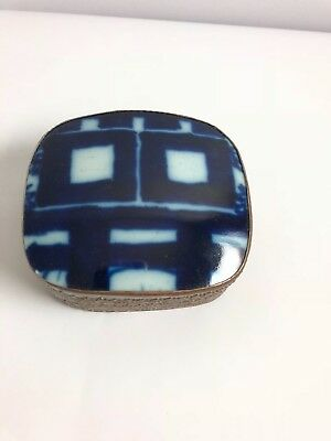 Vintage Chinese Hand Tooled Shard Box, Jewelry Box, Blue and White TILE GIFT