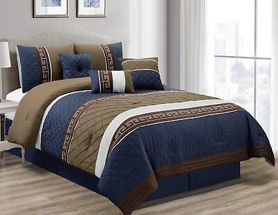 7-Piece Navy Tan Brown Pleated Diamond Quilted Embroidered Comforter Set, Queen