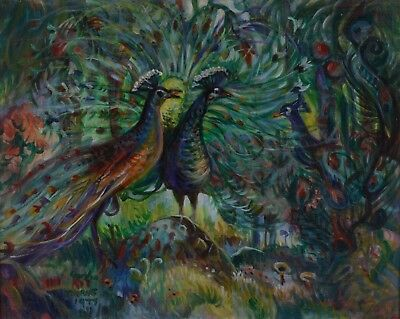 Gordon Kit Thorne Peacock Painting Canada Listed Artist 1896-1981 24x30""