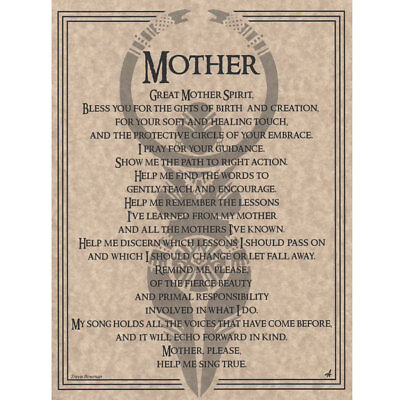 "Mother Prayer Poster 8.5 x 11"" Parchment Print NEW Book of Shadows Page"
