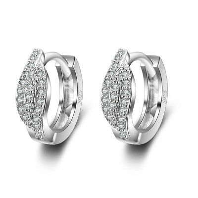 FASHIONS FOREVER® 925 Sterling Silver Leaf Pave Cubic Zirconia Hoop Earrings