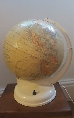 "VINTAGE 1970's GEOGRAPHIA 10"" Terrestrial working LIGHT-UP GLOBE on cream stand"