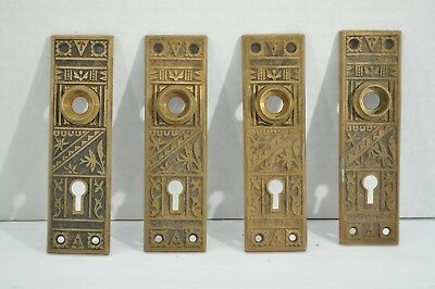 ANTIQUE Cast Brass Back plates Eastlake Victorian set of 4 Matching GROUP 2