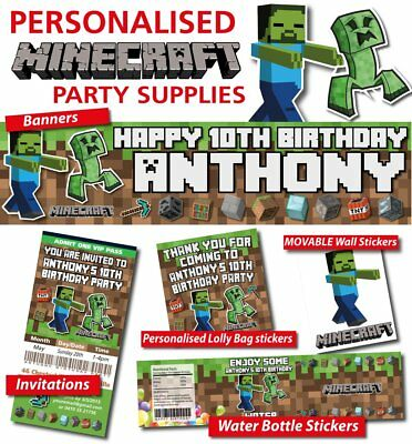Personalized Party Supplies - Minecraft