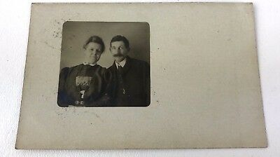 Vintage RPPC Real Photo Postcard c Early 1900s Michigan Posted Husband & Wife