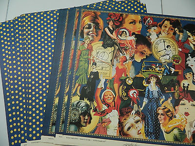 """Graphic 45 Scrapbook Paper 12x12 """"Fashionista""""  Lot of 50 Double Sided Sheets!!"""