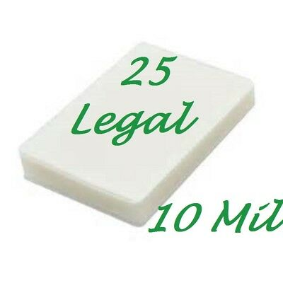 Ultra Clear 25 pk LEGAL SIZE  Laminating Pouches Sheets 9 x 14-1/2 10 Mil