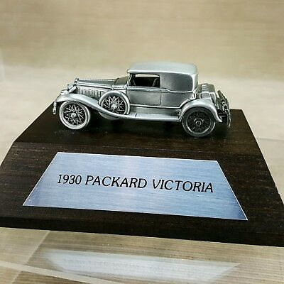 """Pewter 1930 Packard Victoria 3"""" Car Vehicle on Wood Display Base w/ Name Plate"""