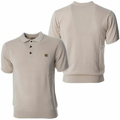 Gabicci Vintage Mens Beige Knitted Polo Shirt Button up Short Sleeved Top S-2XL