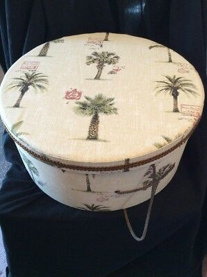 HAT BOX WITH PALM TREE PATTERN PADDED LID ROPE HANDLE by TRI-COASTAL DESIGN