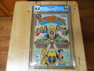 Wonder Woman #1 CGC 8.0  White Pages  George Perez Cover  1st Modern Themyscira