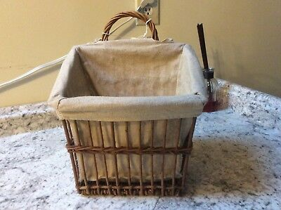 large wicker  basket with liner christmas fall tan