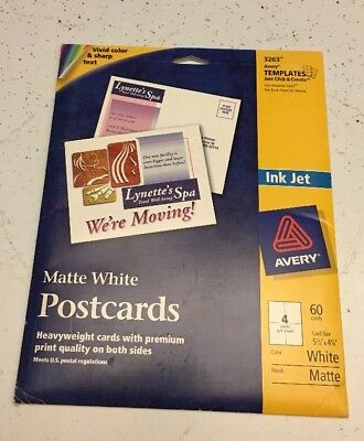 """AVERY Matte White Heavyweight Ink Jet Postcards Package #3263 5 1/2"""" x 4 1/4"""""""