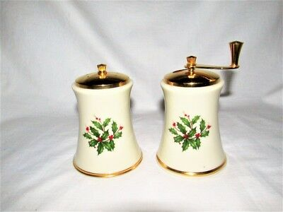 Vtg Lenox 24K Gold Holiday Christmas Salt Pepper Mill Grinder Shaker