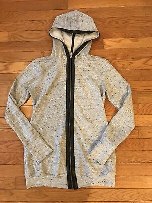 PEA IN THE POD Maternity Heather Grey & Leather Trim Zip Up Jacket/Hoodie Size S