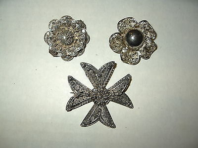 3 Vintage Antique Victorian 800 Silver Filigree Flower & Cross Brooch Pins
