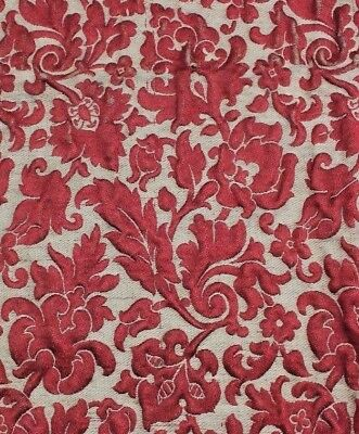 Antique French Napoleon III Red Silk Ethnic Brocatelle Home Dec Fabric c1850-60