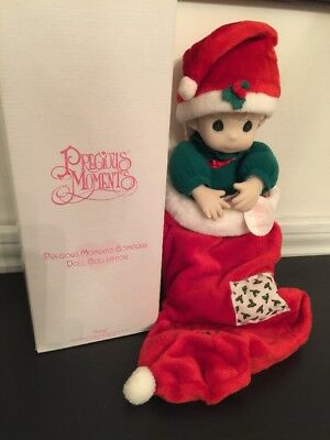 """New Precious Moments 16"""" Doll in Stocking Limited Edition Nikki Item#1087 1995 C"""