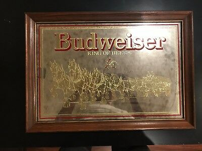 Vintage Budweiser King of Beers Golden Clydesdale Mirror Sign