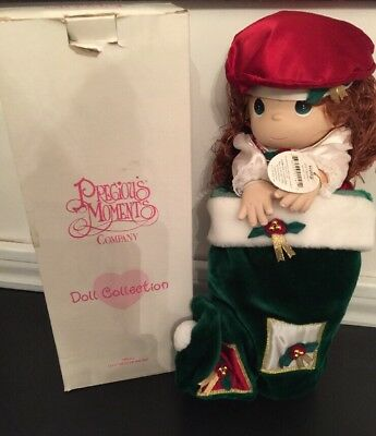 "New Precious Moments 16"" Doll in Stocking  Item#1141 Holly 1999 Christmas Eve"