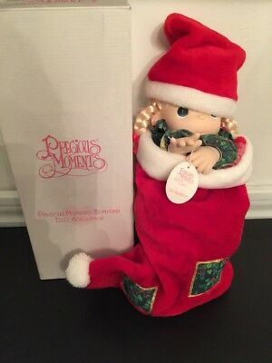 "New Precious Moments 16"" Doll in Stocking QVC Exclusive Item#1132 1998 Christmas"