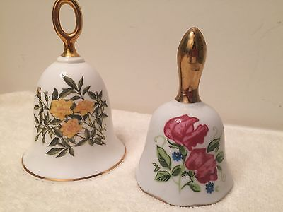 Lot of 2 Floral Bells made of China Enesco and Danbury Mint